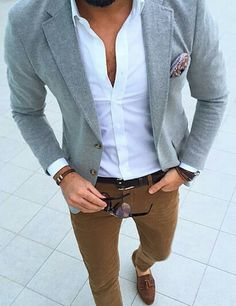 crisp white oxford. gray blazer. caramel chinos. chocolate suede loafers. dark brown belt. watch. bracelets. shades. paisley pocket square. dapper. dope. sophisticated. style.