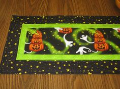 Halloween Quilted Table Runner Topper Ghost by Mountainquiltworks, $42.00