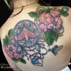#tattoo #neotraditional #jennakerr #moth #dreamcatcher #jewels