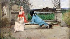 Lovers on a terrace, a town beyond by Auguste Emile Pinchart (1842-1920) oil on canvas, 13 x 22in.