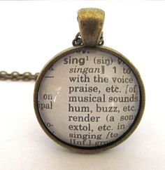 SING Definition Necklace Dictionary Necklace by JewelrybyJakemi