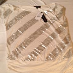 White short sleeve shirt with silver accents White cap sleeve, banded bottom shirt. Silver stripe accents HeartSoul Tops
