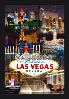 Las Vegas, Nevada - Casinos and Hotels Montage - Lantern Press Artwork (16x24 Giclee Art Print, Gallery Framed, Black Wood), Multi