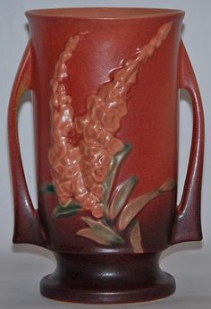 Roseville Pottery Foxglove Pink Vase 48-8 from Just Art Pottery