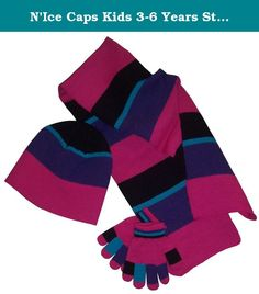 0c953629883 N Ice Caps Kids 3-6 Years Striped Beanie Scarf Magic Glove
