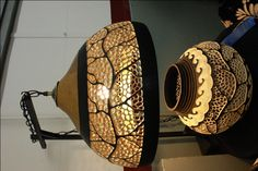 Indiana Gourd Society/ Hanging gourd lamp with matching vessel/ (must see in person to truly appreciate the workmanship!)