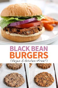 The best BLACK BEAN BURGERS, made without egg or a food processor! Includes the secret to non-mushy veggie burgers, and they're gluten-free & freeze well! Frozen Veggie Burgers, Vegan Burgers, Meatless Burgers, Bean Recipes, Vegetarian Recipes, Healthy Recipes, Healthy Eats, Steamed Sweet Potato, A Food