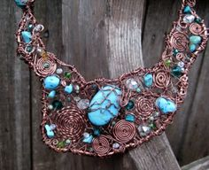 """Hand-Formed Artwear Necklace (Up Close).    Materials: Real Turquiose & Swarovski Crystals """"Entwined"""" with Copper."""