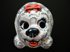 Vintage Halloween Mask White Poodle with Red by SongbirdSalvation