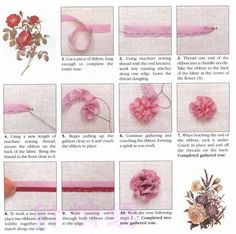 Two-toned Gathered Rose Ribbon Embroidery