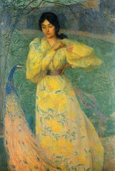 "Edmond Aman-Jean (1858 -1936), ""The girl with the peacock"""