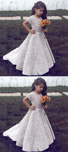 A-line Round Neck Short Sleeves Flower Girl Dress, White Lace Cute Princess