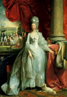 Benjamin West, 'Queen Charlotte' (companion piece), 1779. Royal Collection. A comparatively youthful portrayal of the Queen, painted only 3 yrs prior to Gainsborough's series of oval portraits. But then this is not so much a historical portrait as an emblematic one - placed in a fictional interior, almost a retroactive prediction of what her life would entail - the crown to her right, her children to her left, included almost as in a painting - grouped in a rural idyll, a frozen tableaux…
