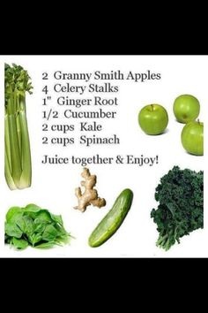Zippy Green Juice Ingredients: 2 Granny Smith Apples 4 Celery Stalks Ginger Root Cucumber 2 Cups Kale 2 Cups Spinach Juice and . Green Juice Recipes, Healthy Juice Recipes, Juicer Recipes, Healthy Detox, Healthy Juices, Healthy Smoothies, Raw Food Recipes, Healthy Drinks, Detox Juices