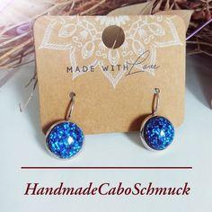 """Cabochon Ohrringe Ohrstecker Ohrhänger 12mm blau """"Konfetti"""", Edelstahl oder Bronzefassung"""