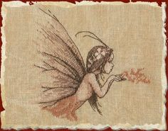 Nimue Poussiere de Fee (Fairy Dust) - Cross Stitch Pattern. Model stitched on 32 count Vintage linen with DMC floss. Stitch Count: 97x82. Also required, but not