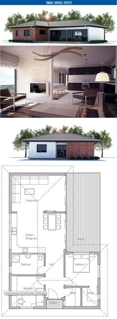 Small House Plan to narrow lot with two bedrooms, open plan, vaulted ceiling in the living area, big windows. Floor area: 1023 sq ft, Cost to Build: from $ 90 000. Very interesting put in stairs and suite by taking off 1 bedroom, reducing main floor #interior design| http://home-design-collections.lemoncoin.org