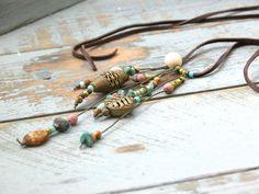 Hippie-Style ★ Lederkette ★ Lederband ★ lang von farblos-cool auf DaWanda.com