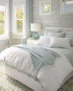 modern farmhouse bedroom design, neutral bedroom decor, neutral master bedroom design with white bedding and white walls, neutral farmhouse pillows, n. Neutral Bedroom Decor, Cozy Bedroom, Dream Bedroom, Modern Bedroom, Contemporary Bedroom, White Comforter Bedroom, Beach House Bedroom, Summer Bedroom, Beach Inspired Bedroom