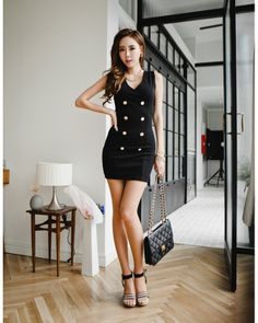 Laconic Style Deep V-Neck Double-Breasted Buckle Dress For Women, Shop online for $11.00 Cheap Dresses code 699504 - Eastclothes.com