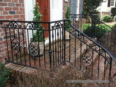 Custom Wrought Iron Residential Railings Raleigh Wrought Iron Co. Wrought Iron Porch Railings, Porch Handrails, Exterior Stair Railing, Outdoor Stair Railing, Wrought Iron Staircase, Wrought Iron Stair Railing, Banisters, Porch Railing Designs, Balcony Railing Design