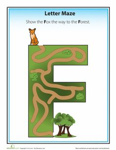 Work your way through these printable alphabet letter mazes with your preschooler to help her learn her ABC's. Printable Alphabet Letters, Alphabet Crafts, Preschool Letters, Letter Activities, Kids Alphabet, Letter Maze, Letter F, Maze Worksheet, Worksheets