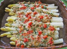 Spargel mit Parmesan-Kruste Asparagus with Parmesan crust (recipe with picture) by Grilling Recipes, Seafood Recipes, Vegetarian Recipes, Snack Recipes, Healthy Recipes, Easy Recipes, Healthy Snacks, Healthy Eating, Asparagus Recipe