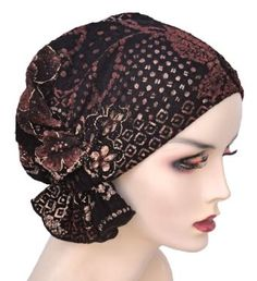 Turban Plus Abbey Cap in Brown Floral with Gold Overlay in Cotton Knit Turban Plus. $24.99