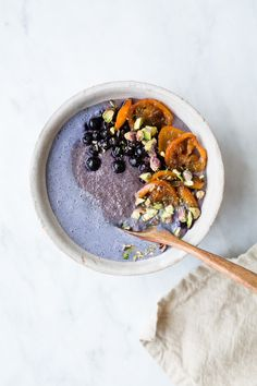 Blueberry Amaranth Porridge + Caramelized Ginger Kumquats - The Green Life