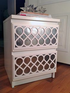 """DIY: Mercury Glass """"Contact"""" Paper for furniture. Also the link for Furniture Overlays. Would make an excellent project for thrifted furniture or to add to builders grade wood cabinets."""