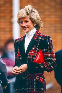 Princess Diana wore an 80s turtleneck and tartan suit when attending an event in Portsmouth in 1988