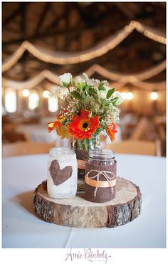 Burlap and Mason Jar Wood Centerpiece Amie Reinholz Photography Amber Springs Montgomery TX