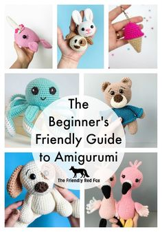 The Beginner's Friendly Guide to Amigurumi. Learn all you need to get started with amigurumi and make those adorable crochet animals and dolls you have been seeing! Come with 7 beginner amigurumi patterns. Crochet Animal Amigurumi, Crochet Amigurumi Free Patterns, Crochet Animal Patterns, Crochet Patterns For Beginners, Stuffed Animal Patterns, Crochet Animals, Crochet Stuffed Animals, Crochet Cats, Crochet Birds