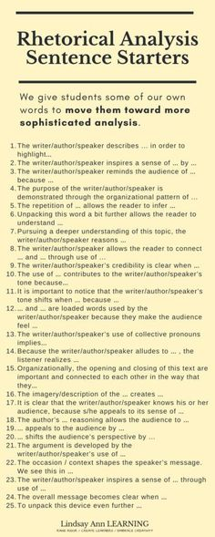 rhetorical-analysis-sentence-starters Academic Writing, English Writing, Ap English, Essay Writing, Teaching English, Writing Prompts, Writing Strategies, Teaching Strategies, Writing Resources
