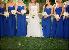 long cobalt blue bridesmaids dresses by Jade Water Designs, blue wedding ideas