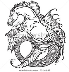 hippocampus or kelpie mythological sea-horse . Black and white image
