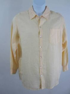 Chicos size 2 Top Shirt Blouse Oversized Yellow Linen Tunic Length Long Sleeve