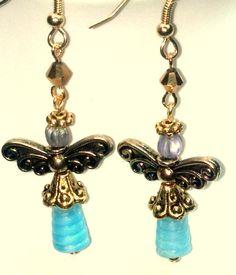 Bell Cap and Beehive Angel Earrings by teresadelosh on Etsy, https://www.etsy.com/listing/120332759/bell-cap-and-beehive-angel-earrings $12.00