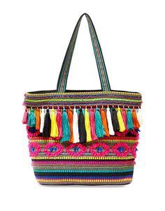 """<ul><li>Colorful woven tote adorned with tassel trims</li> <li>Double top handles, 11"""" drop</li> <li>Top zip closure</li> <li>One inside slip pocket</li> <li>One inside zip pocket</li>  <li>Lined</li>  <li>20"""" W x 13.5""""H x 7.5""""D</li> <li>Fabric</li> <li>Imported</li></ul>"""
