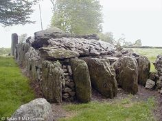 "Labbacallee wedge tomb (Irish: Leaba Chaillí ""Hag's Bed"") is a large pre-historic burial monument, located 8 km (5.0 mi) north-west of Fermoy and 2 km (1.2 mi) south-east of Glanworth, County Cork, Ireland. It is the largest Irish wedge tomb and dates from roughly 2300 BCE"