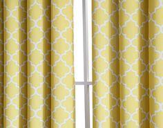"HLC.ME Lattice Print Thermal Grommet Blackout Window Treatment Valance - Bright Yellow - 52"" W x 18"" L"