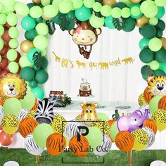 148 Pack Jungle Safari Theme Party Decorations latex balloons, 12 Green Palm Leaves, 1 banner 4 cake topper 16 feets Arch Balloon strip tape, 1 Balloon tying tools Safri party Supplies Favors for Kids Boys Birthday Baby Shower Decor Safari Party Foods, Safari Theme Party, Safari Birthday Party, Boy Birthday, Safari Food, Birthday Ideas, Jungle Theme Parties, Party Themes, Jungle Party