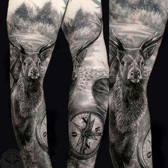 Nautical Tattoo Sleeve, Tree Sleeve Tattoo, Tattoo Sleeve Designs, Sleeve Tattoos, Cool Arm Tattoos, Skull Tattoos, Animal Tattoos, Tattoos For Guys, Tatoos