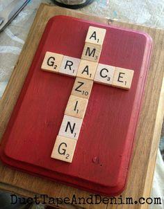 Amazing Grace Scrabble Tile Plaque and more super simple Easter DIY crafts on DuctTapeAndDenim.com