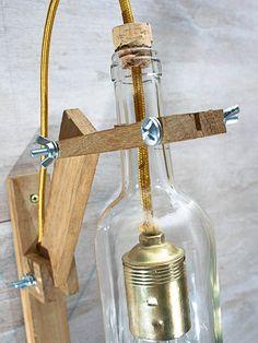 Lámpara pared madera botella blanca lámpara madera Lámpara | Etsy