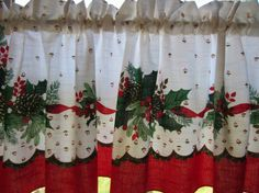 Vintage Christmas Tablecloth Valance 60 X 15 by OneJellybean
