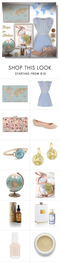 """""""Maps or Globes - Contest!"""" by sarahguo ❤ liked on Polyvore featuring Sea, New York, Charlotte Olympia, Kate Spade, Chart Metal Works, Swarovski, MOA Magic Organic Apothecary, Boucheron, Essie and Omorovicza"""