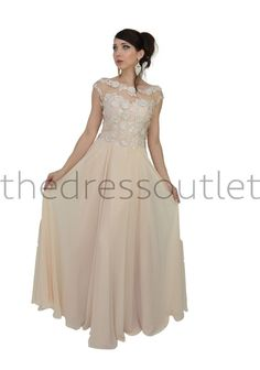00500385d2a Long Short Sleeve Lace Plus Size Dress Chiffon Formal Evening Gown - The  Dress Outlet -