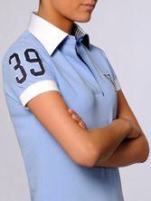 Polo Femme Bleu Doublure Marine Carreaux 39 Manches Courtes