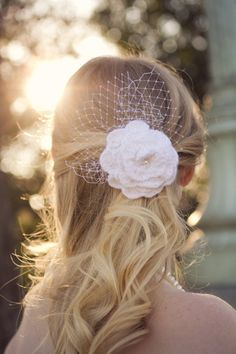 Crochet White Rose Bridal Fascinator with Birdcage Accent. $35.00, via Etsy.